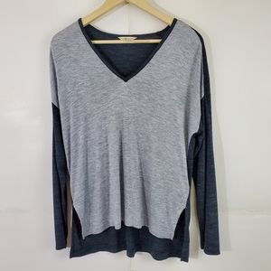 MADEWELL Two-Tone Gray Long-Sleeve V-Neck Top